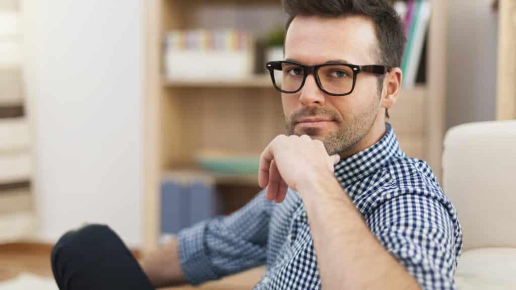 Portrait of handsome man wearing glasses